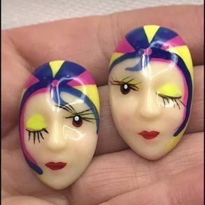 Vintage lady face earrings